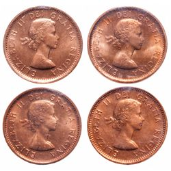 1 Cent. Lot of 4 ICCS graded Elizabeth II cents.