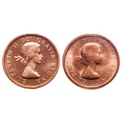 1 Cent. Lot of 2 ICCS graded Elizabeth II cents.