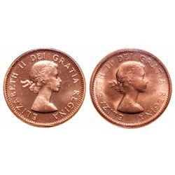 1 Cent. Lot of 2 ICCS graded Elizabeth II cents.