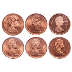 1 Cent. Lot of 6 ICCS graded Elizabeth II cents.