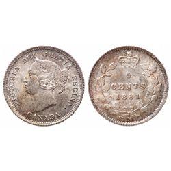 5 Cents. 1881-H. ICCS MS-65.