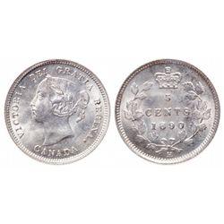 5 Cents. 1890-H. ICCS MS-65.