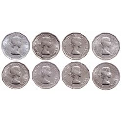 Lot of 8 ICCS Elizabeth II 5 cents.