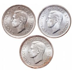 Lot of three (3) ICCS graded George VI MS-65 10 cents.