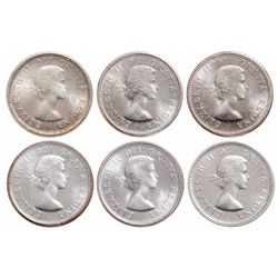 Lot of six (6) ICCS graded Elizabeth II 10 cents.