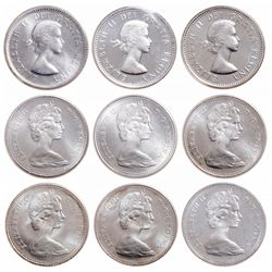 Lot of nine (9) ICCS graded Elizabeth II 10 cents.