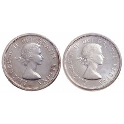 Lot of two (2) Elizabeth II ICCS graded 25 cents.