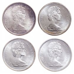 Lot of four (4) Elizabeth II ICCS graded 25 cents.