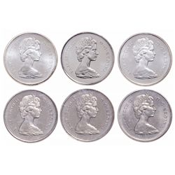 Lot of six (6) Elizabeth II ICCS graded 25 cents.