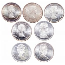 Lot of seven (7) ICCS graded Elizabeth II 50 cents.