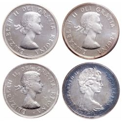 Lot of four (4) ICCS graded Elizabeth II 50 cents.