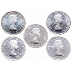 Lot of five (5) ICCS graded Elizabeth II 50 cents.