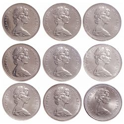 Lot of nine (9) ICCS graded nickel dollars.