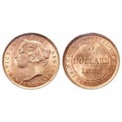 2 Dollar Gold. 1888. Obv 3. ICCS MS-63.