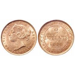 2 Dollar Gold. 1888. Obv 3. ICCS MS-62.