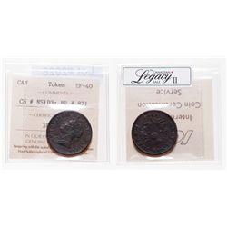Breton-871. NS-1D3. Canada. 1/2 penny token. 1832. ICCS EF-40.