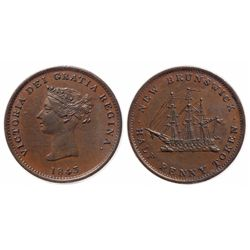 Breton-910. NB-1A1. 1843. 1/2 Penny. ICCS AU-55. Glossy brown.