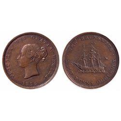 Breton-912. NB-1B. 1/2 Penny. 1854. ICCS AU-55. Glossy tan toning.