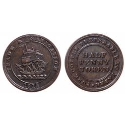 Breton-965. NS-21A4. 1/2 Penny Token. Pure Copper. ICCS Extra Fine-45.
