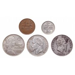 LOT OF FIVE (5) World coins.