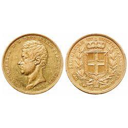Italy - Sardinia. 100 Lira. 1834-P. Pic# 133.1. AU.