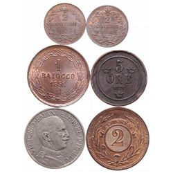ITALY. Two Centimes. 1861N. KM#2.2. AU. 30% lustre; 1897R. KM#30. AU; T….