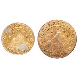 Lewis & Clark Exposition. 1905. 1/2 gold token & 1/4 gold token. 'Heart o….