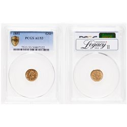 United States. $1 Gold. 1851. PCGS AU-53.