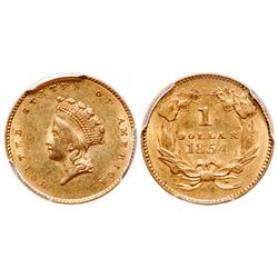 United States. $1 Gold. 1854. PCGS AU-58.