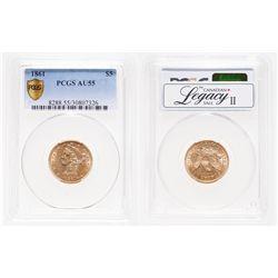 United States. $5 Gold. 1861. PCGS AU-55.