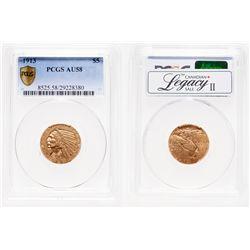 United States. $5 Gold. 1913. PCGS AU-58.