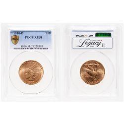 United States. $10 Gold. 1910-D. PCGS AU-58.