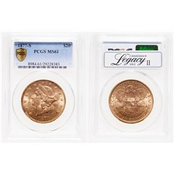 United States. $20 Gold. 1877-S. PCGS MS-61.