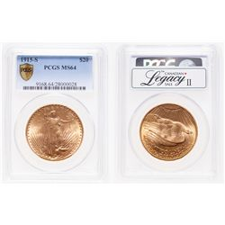 United States. $20 Gold. 1915-S. PCGS MS-64.