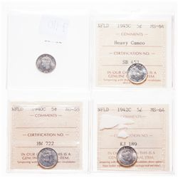 1940-C. ICCS AU-55. Brilliant; 1942-C. ICCS Mint State-64. Brilliant a….