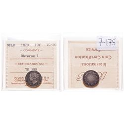 1870. Obverse port. #1. ICCS Very Good-10. Medium to heavy toning. Weak….