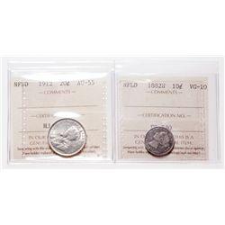 TEN Cents. 1882-H. ICCS VG-10; TWENTY Cents. 1912. ICCS AU-55. Brilli….