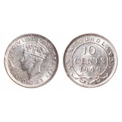 1940. 'Doubled Date & Doubled 10 Cents'. ICCS AU-50. Brilliant. Ex. Can.….