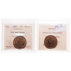 1861. ICCS Mint State-63. Red-Brown. 40% even red luster.