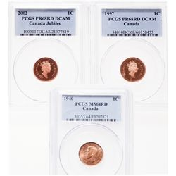 1940. PCGS graded Mint State-64. Red. 90% luster; 1997. PCGS graded Proof….