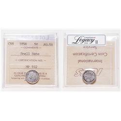 5 Cents. 1858. ICCS AU-50.