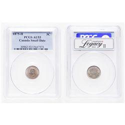 5 Cents. 1875-H. PCGS au-53.