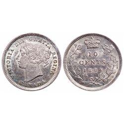10 Cents. 1884. ICCS AU-58.