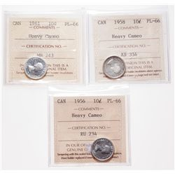1956, 1958, 1961. All ICCS Proof-Like-66. All brilliant, with Heavy Cam….