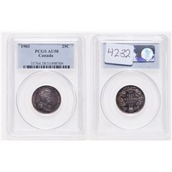 1903. PCGS graded AU-58. Heavily toned.