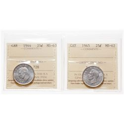 Lot of two (2) ICCS graded Twenty-Five Cents of King George VI.
