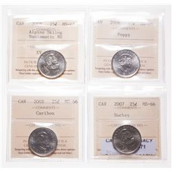 2007. Hockey; 2008 Caribou; 2008. Poppy. All ICCS Mint State-66. 2008.….