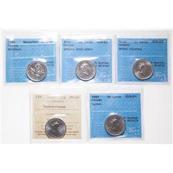 1992. Quebec. CCCS Mint State-64; 1992. Saskatchewan. ICCS Mint State-65;….