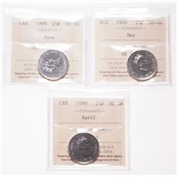 1999. April; 1999. May; 1999, June. All three Gems are ICCS Mint State-6….