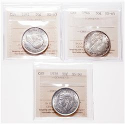 1938. ICCS Mint State-60. Brilliant; 1941. ICCS Mint State-63. Trace of….